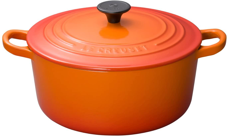 ル・クルーゼ(Le Creuset) 鋳物 ホーロー 鍋 ココット・ロンド 22 cm オレンジ