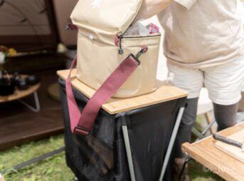 ウッドテーブル W竹はメッシュラックボックスに載せられる