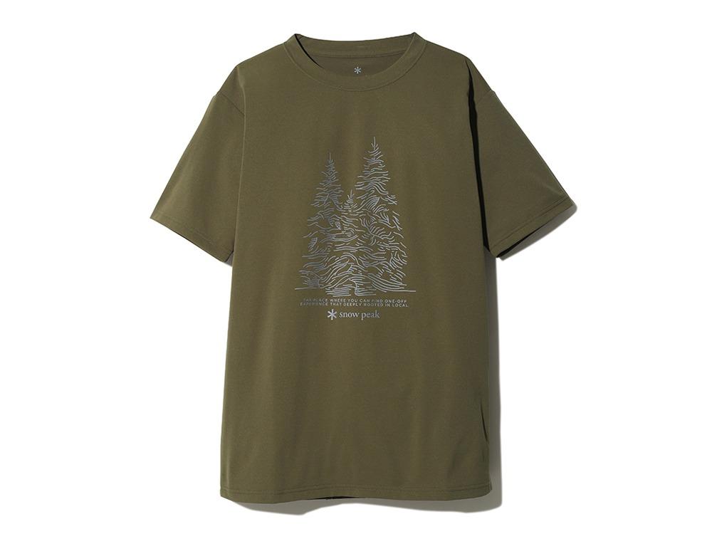 Graphic Tee Snow Treeオリーブのデザイン