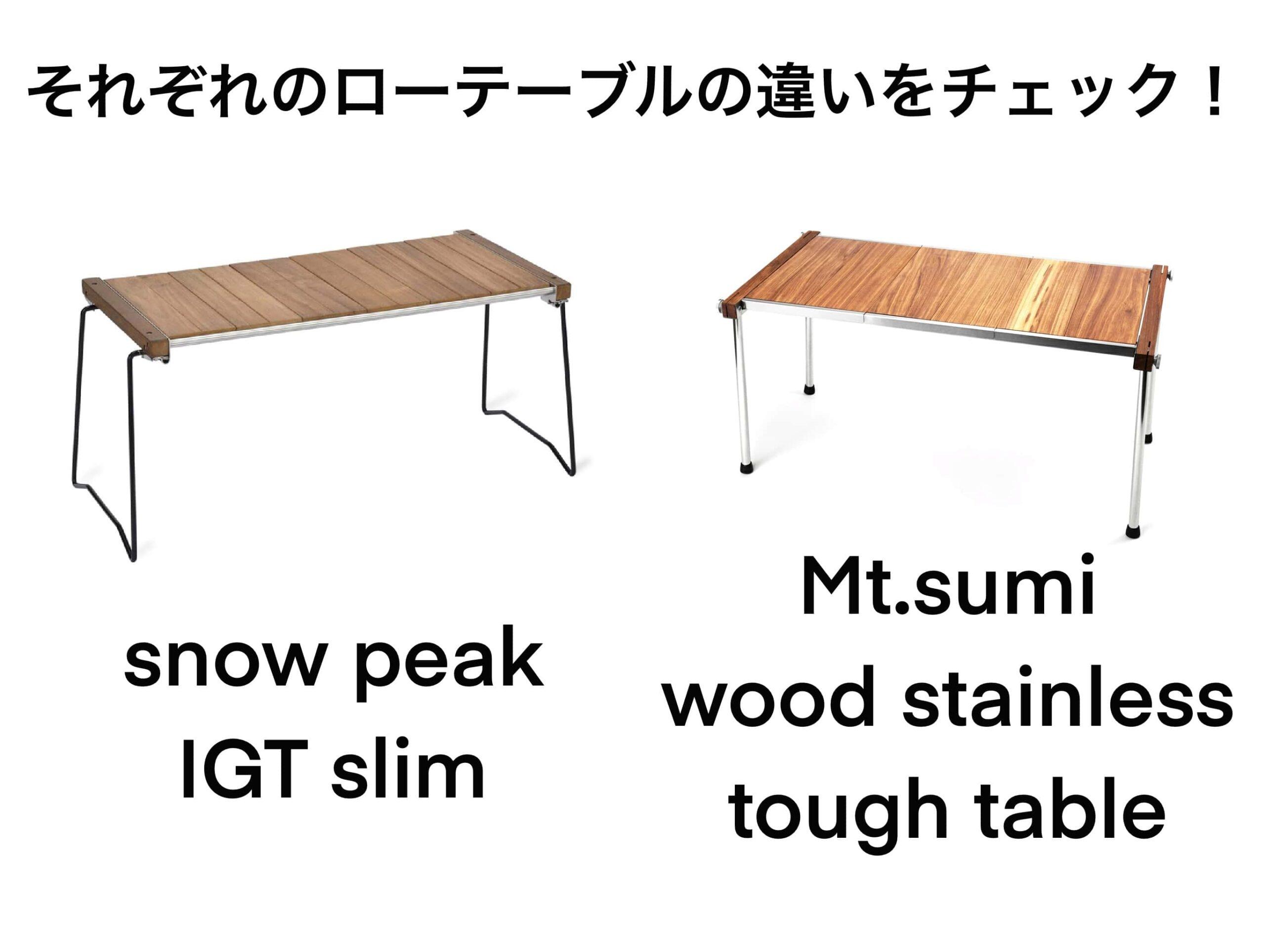 Mt.SUMIとsnow peakのローテーブルを比較